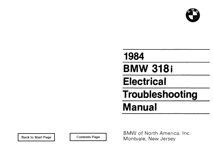 BMW 1984 e30 318i Electrical Troubleshooting Manual