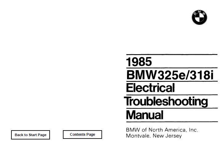 BMW 1985 e30 325e/318i  Electrical Troubleshooting Manual