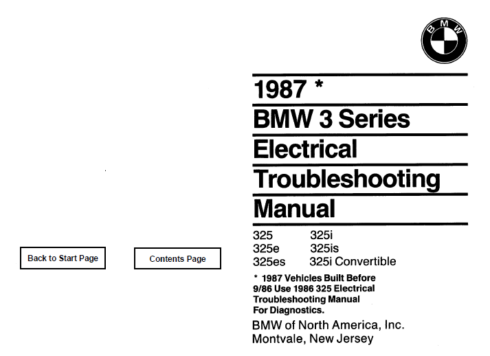 BMW 1987 e30  Electrical Troubleshooting Manual