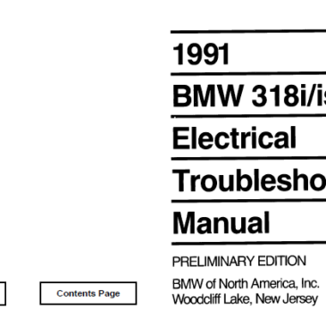BMW 1991 e30 318i/318is/325ic  Electrical Troubleshooting Manual