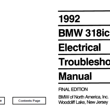 BMW 1992 e30 318ic  Electrical Troubleshooting Manual